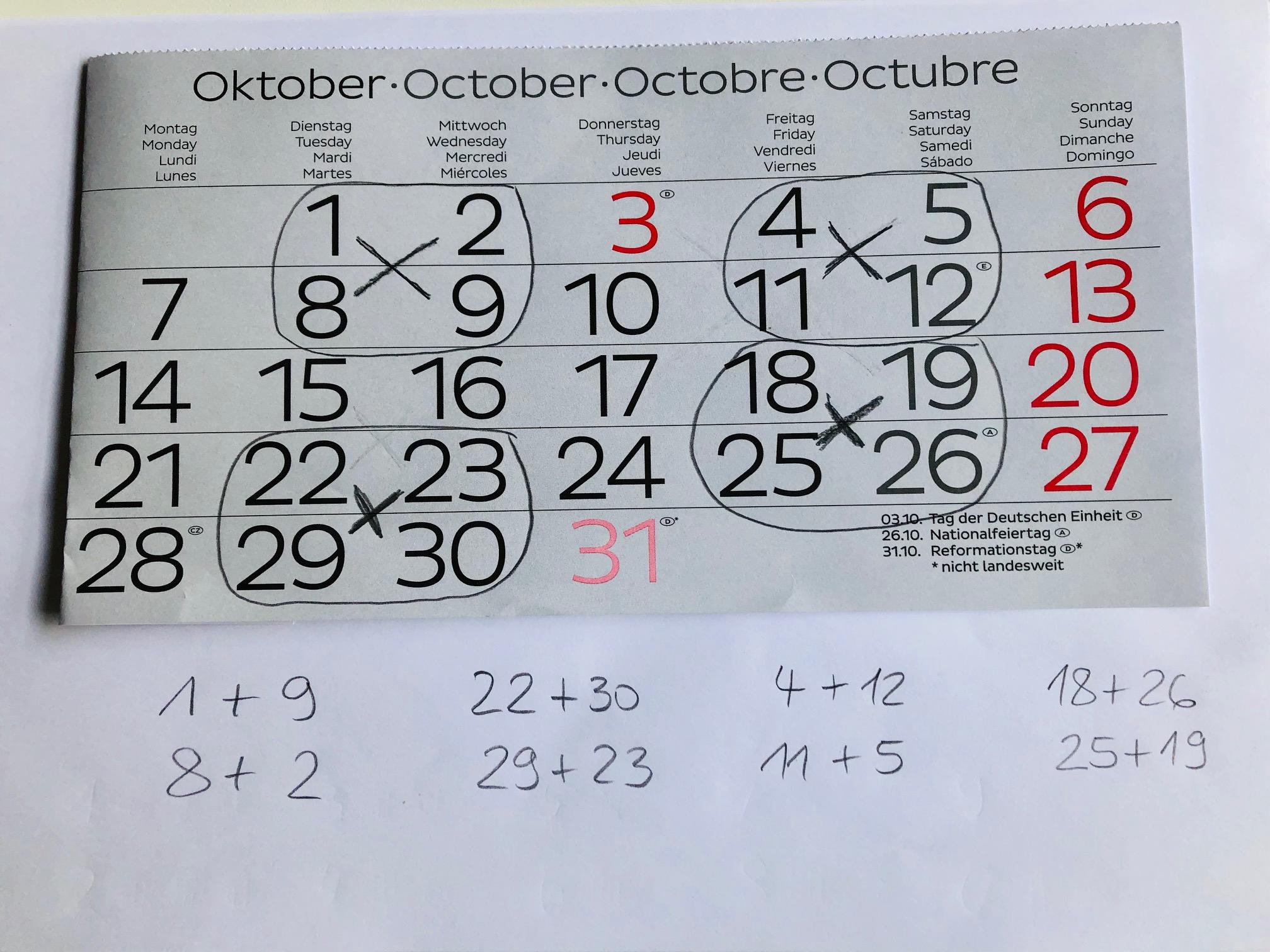 Kalendermathematik über Kreuz