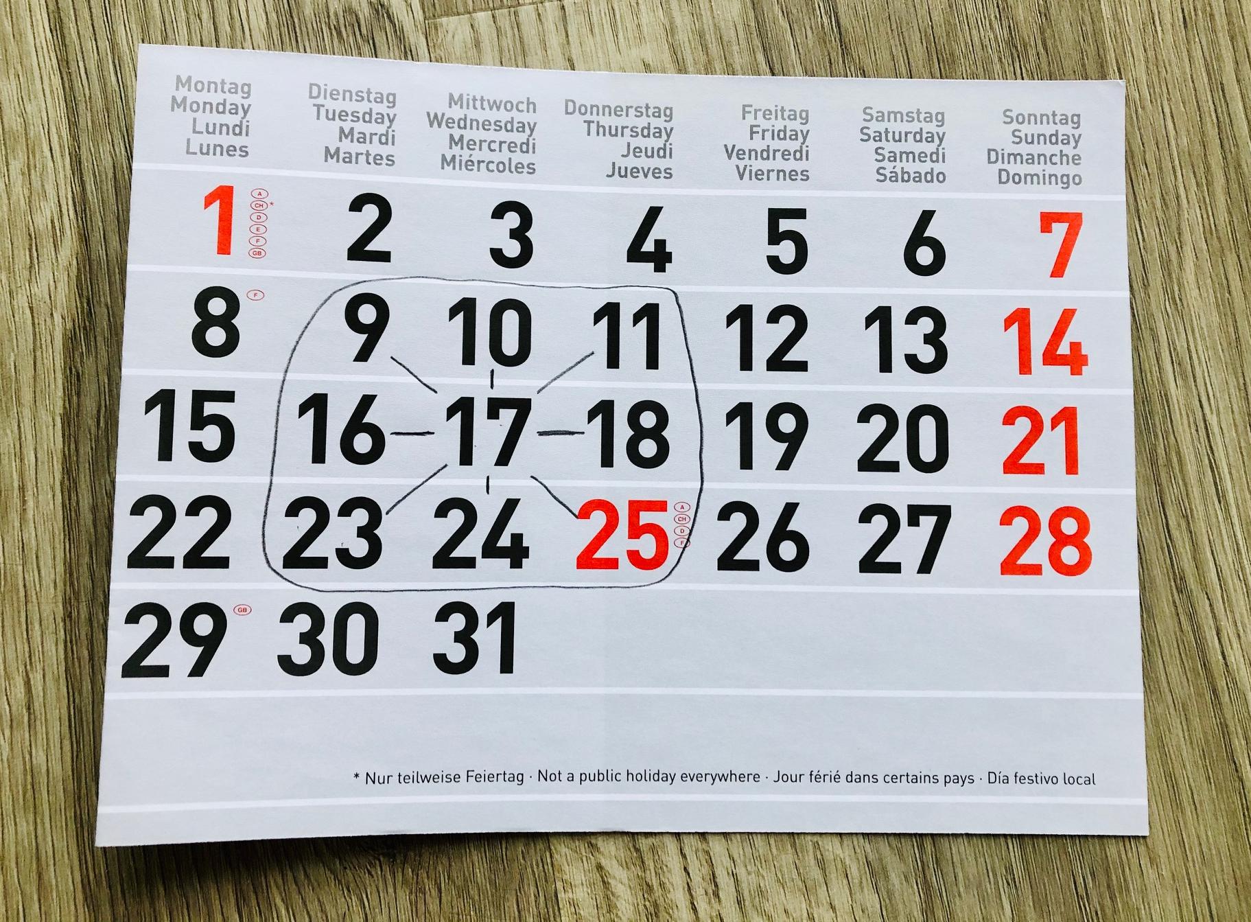 Kalendermathematik Neunerfeld